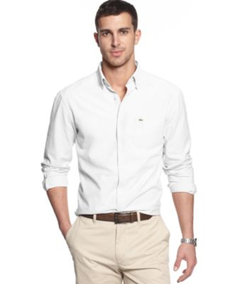 Lacoste Men's Solid Button Down Collar Shirt - Casual Button-Down ...