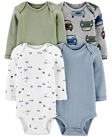 Baby Boys 4-Pk. Printed Long-Sleeve Cotton Bodysuits