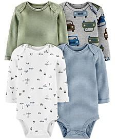 Baby Boys 4-Pk. Printed Long-Sleeve Cotton Bodysuits