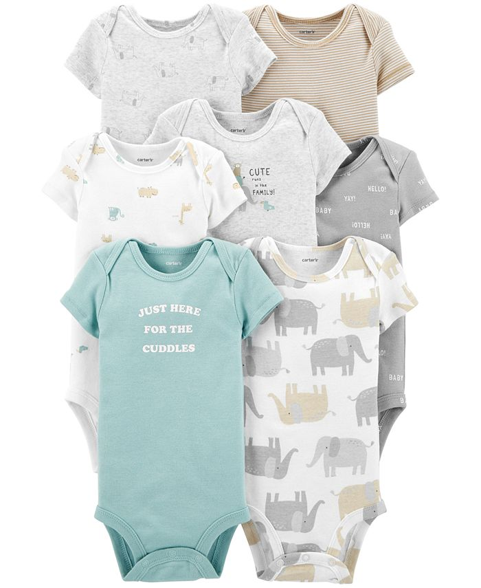 Carter's - Baby Boys or Girls 7-Pack Cuddles Printed Cotton Bodysuits