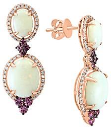 LALI Jewels Opal (3-5/8 ct. t.w.), Pink Sapphire (1/2 ct. t.w.) & Diamond (1/3 ct. t.w.) Drop Earrings in 14k Rose Gold