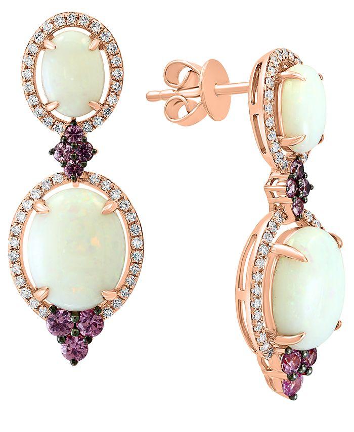 LALI Jewels - Opal (3-5/8 ct. t.w.), Pink Sapphire (1/2 ct. t.w.) & Diamond (1/3 ct. t.w.) Drop Earrings in 14k Rose Gold