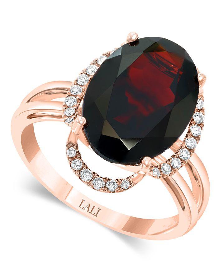 LALI Jewels - Garnet (7-5/8 ct. t.w.) & Diamond (1/6 ct. t.w.) Statement Ring in 14k Rose Gold