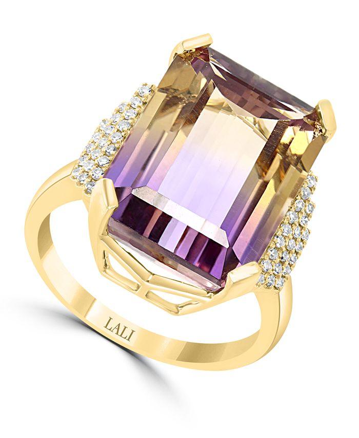 LALI Jewels - Ametrine (13-5/8 ct. t.w.) & Diamond (1/6 ct. t.w.) Statement Ring in 14k Gold