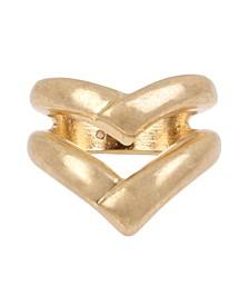 Sculptural V Ring in Gold-tone Metal