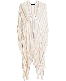 Striped Tassel-Trim Cover-Up