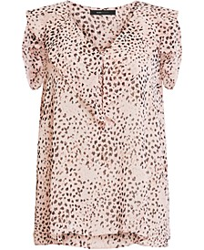 Animal-Print Cold-Shoulder Top