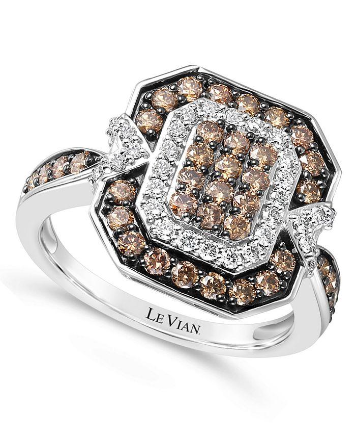 Le Vian - Chocolate Diamond (3/4 ct. t.w.) & Nude Diamond (1/3 ct. t.w.) Ring in 14k White Gold
