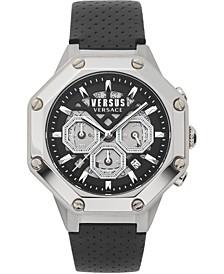 Men's Chronograph Palestro Black Leather Strap Watch 45mm