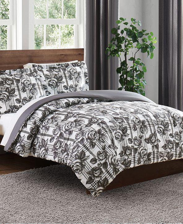 Pem America Floral Plaid Twin 3PC Comforter Set
