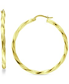 """Large Twist Hoop Earrings in 18k Gold-Plated Sterling Silver, 2-3/8"""", Created for Macy's"""