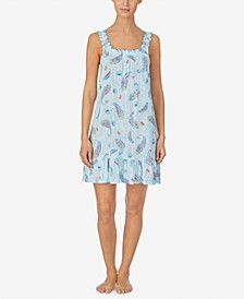 로렌 랄프로렌 나이트가운 Lauren Ralph Lauren Printed Jersey Chemise Nightgown,Blue Multi