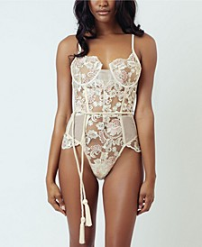 Embroidered Underwire Thong Bodysuit