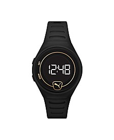 Forever Faster LCD Black Polyurethane Watch 42mm