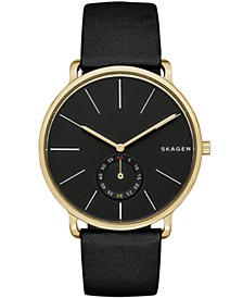 Men's Hagen Gold Tone Stainless Steel Multifunction Black Leather Watch 40mm