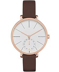Women's Hagen Rose Gold Stainless Steel Multifunction Leather Watch 34mm