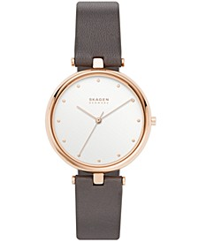 Women's Tanja Rose Gold Stainless Steel Gray Leather Watch 36mm