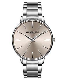 Men's 3 Hands Slim Silver-tone Stainless Steel Watch on Silver-tone Stainless Steel Bracelet, 42mm