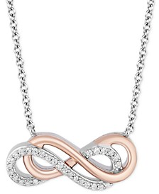 "Infinity Strength pendant (1/10 ct. t.w.) in Sterling Silver & 14k Rose Gold, 16"" + 2"" extender"