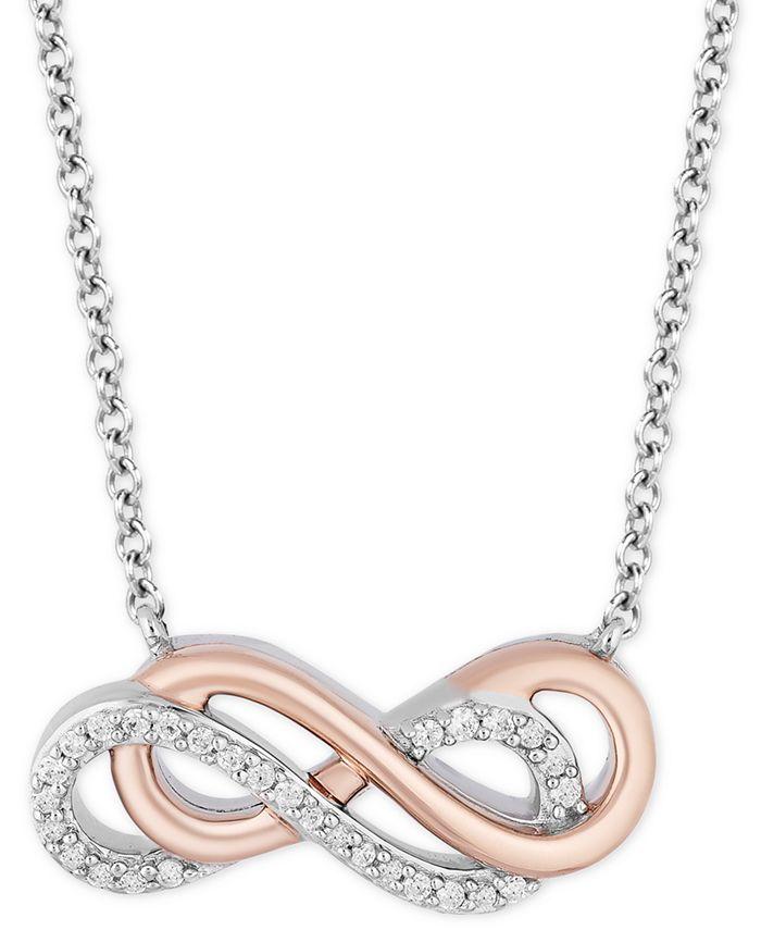 Hallmark Diamonds - Diamond Infinity Pendant Necklace (1/10 ct. t.w.) in Sterling Silver & 14k Rose Gold
