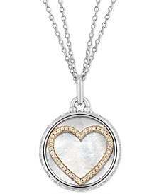 "Mother Of Pearl & Diamond Heart Disc Double Chain Love pendant (1/5 ct. t.w.) in Sterling Silver & 14k Gold, 16"" + 2"" extender"