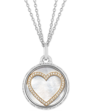 Mother Of Pearl & Diamond Heart Disc Double Chain Love pendant (1/5 ct. t.w.) in Sterling Silver & 14k Gold