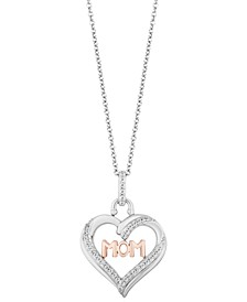 "Mom Heart Love pendant (1/5 ct. t.w.) in Sterling Silver & 14k Rose Gold, 16"" + 2"" extender"