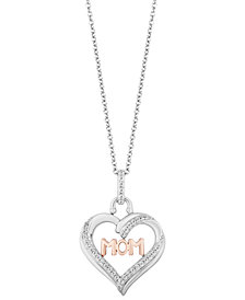 """TOKENS by Hallmark Diamonds Mom Heart Love pendant (1/5 ct. t.w.) in Sterling Silver & 14k Rose Gold, 16"""" + 2"""" extender"""