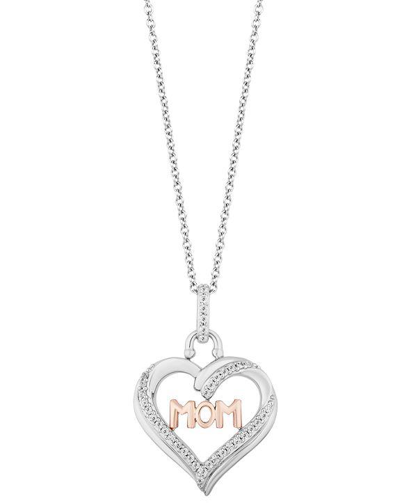 "Hallmark Diamonds Mom Heart Love pendant (1/5 ct. t.w.) in Sterling Silver & 14k Rose Gold, 16"" + 2"" extender"