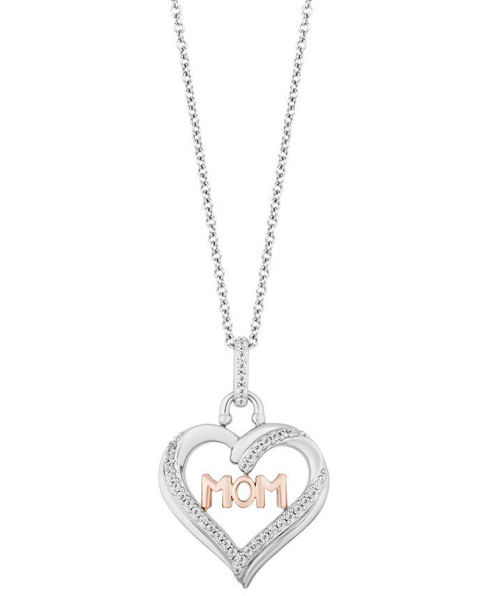 "Hallmark Diamonds - Diamond Mom Heart Pendant Necklace (1/5 ct. t.w.) in Sterling Silver & 14k Rose Gold, 16"" + 2"" extender"