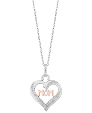 Mom Heart Love pendant (1/5 ct. t.w.) in Sterling Silver & 14k Rose Gold