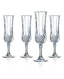 Cristal D'Arques Flute Glasses 4.5 oz 4 Piece Set