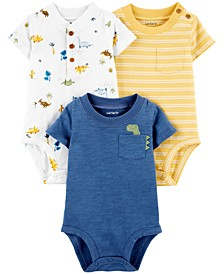 Baby Boys 3-Pack Printed Cotton Bodysuits