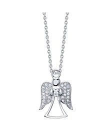 "Gratitude & Grace Fine Silver Plated Cubic Zirconia Angel Necklace, 16""+2"" Extender"