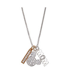 """Fine Silver Plated Mickey Mouse """"Mom"""" and Clear Crystal Bar Charm Necklace, 16""""+2"""" Extender"""