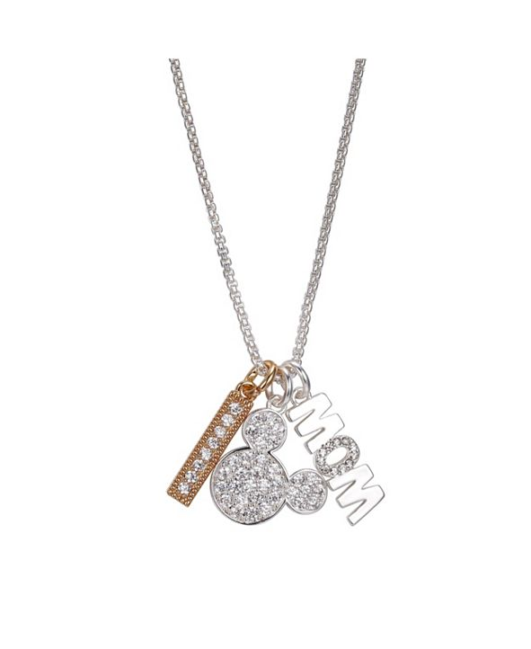 """Disney Fine Silver Plated Mickey Mouse """"Mom"""" and Clear Crystal Bar Charm Necklace, 16""""+2"""" Extender"""