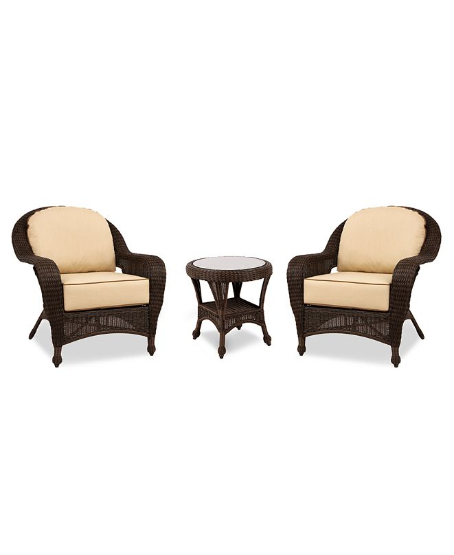 Furniture Monterey Outdoor 3-Pc. Set (2 Club Chairs & 1 End Table), Created for Macy's