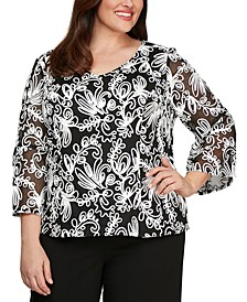 Plus Size Soutache Blouse