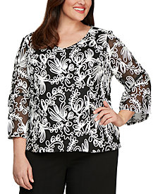 Alex Evenings Plus Size Soutache Blouse