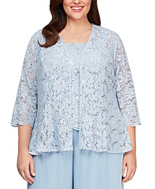Plus Size Lace Jacket & Top Set