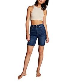 High Stretch Denim Bermuda Shorts