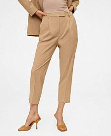 MANGO Pleated Crop Trousers