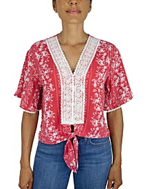 Juniors' Lace-Trim Tie-Front Top