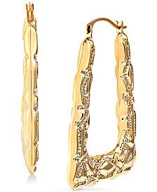 Ornately Textured Triangle Hoop Earrings in 14k Gold