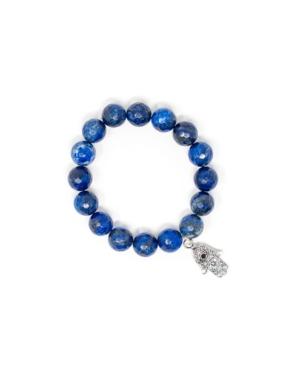 Faceted Lapis Lazuli Hamsa Bracelet