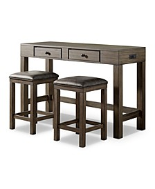 Cohasset 3 Piece Counter Height Dining Table Set