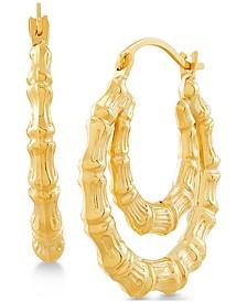 Bamboo-Look Double Hoop Earrings in 14k Gold