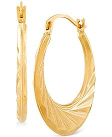Small Textured Hoop Earrings in 14k Gold