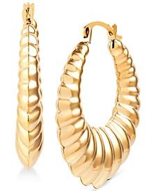 Ribbed Tapered Hoop Earrings in 14k Gold