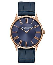 Mens Classic Round Blue Dark Genuine Leather Strap Watch 42mm